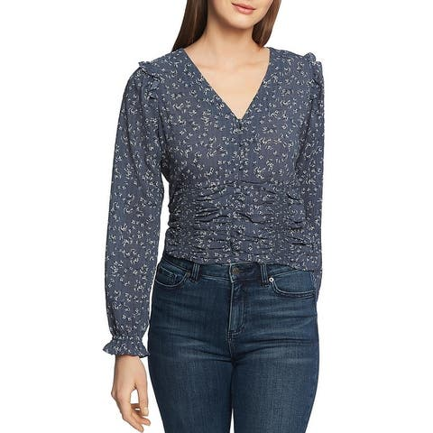 1.State Womens Button-Down Top Floral Puff Sleeve - Midnight Sky