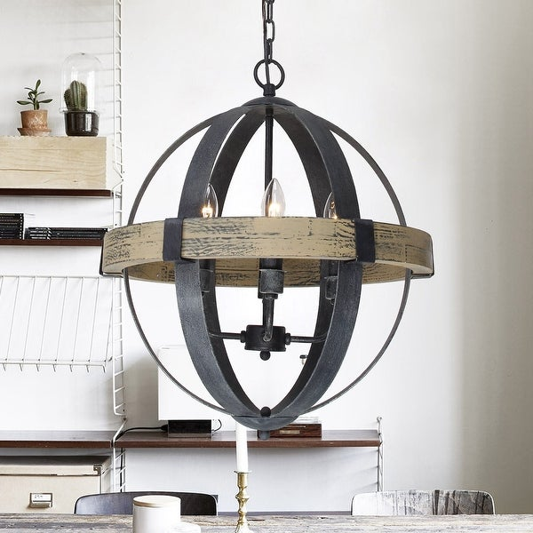 Distressed Antique White 4 Light Wood Orb Chandelier