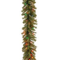 9 ft. Norwood Fir Garland with Battery Operated Multicolor LED Lights - green