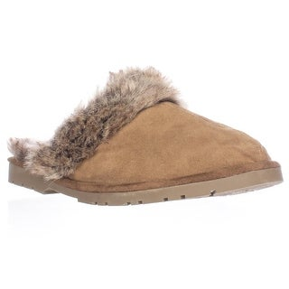 Sporto Jasmine Faux Fur Mule Slippers - Brown