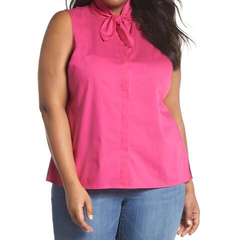 Sejour Deep Pink Womens Size 3X Plus Tie-Neck Button Up Blouse