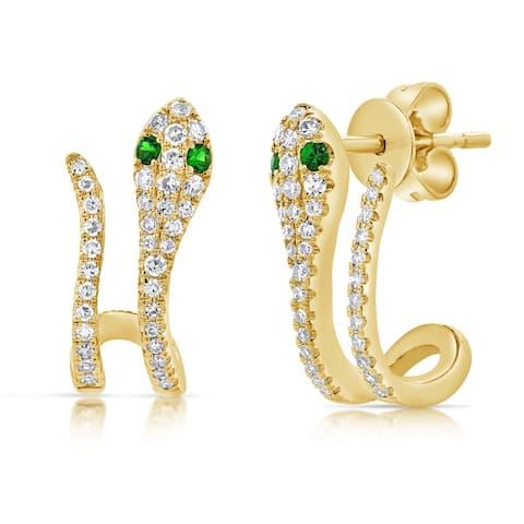Snake Diamond & Tsavorite Earrings 14K Yellow Gold