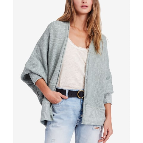 Free People Mint Green Womens Size Large L Open-Front Cardigan