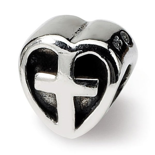 Sterling Silver Reflections Kids Heart w/Cross Bead (4mm Diameter Hole)