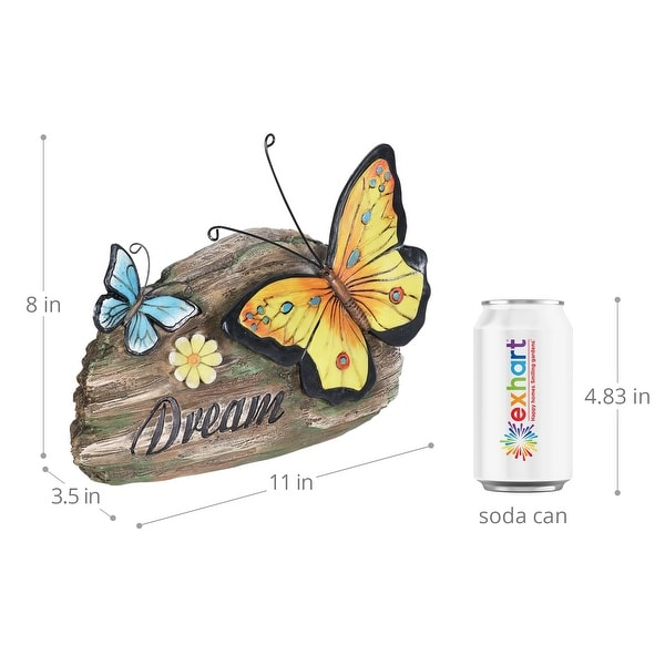 Exhart Dream Yellow and Blue Butterflies Hand Painted Garden Statuary, 11 by 8 Inch