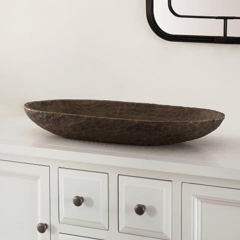 """SAFAVIEH Trellen Decorative Faux Wood Long Bowl (Set of 2) - 19.9"""" W x 8.7"""" L x 3"""" H"""