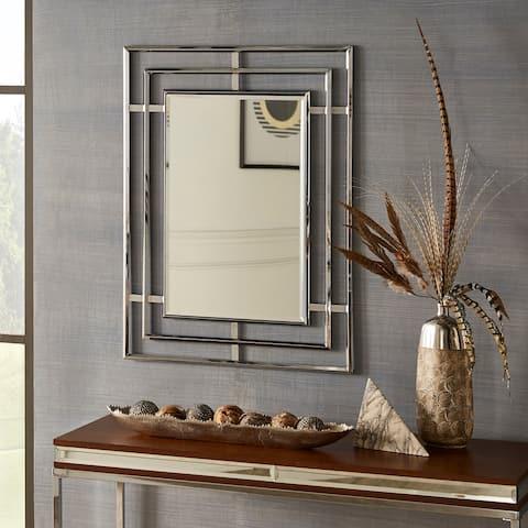 Clyde Triple Framed Chrome Rectangular Wall Mirror by iNSPIRE Q Bold