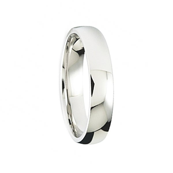 Domed Polished Finish Comfort-Fit Women's Wedding Band by Crown Ring - 4mm