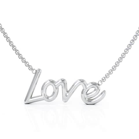 """14K White Gold LOVE Pendant Necklace, 16-17"""" Chain by Noray Designs"""