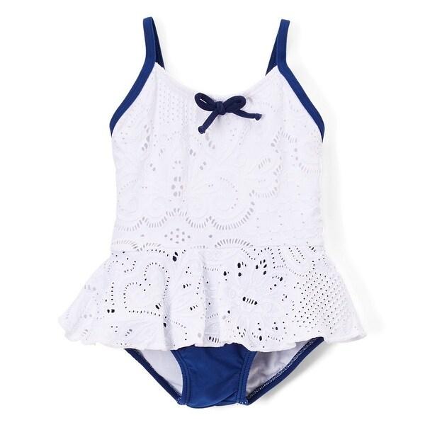 Azul Baby Girls White Blue Hamptons Weekend Skirted One Piece Swimsuit