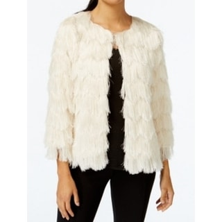NY Collection NEW White Ivory Women's Size Small S Faux-Fur Jacket