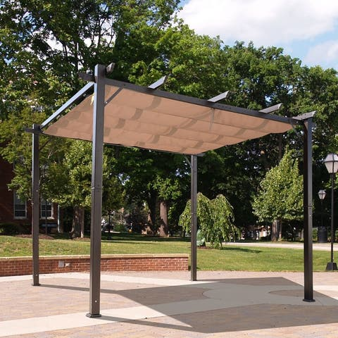 Outsunny 10' x 10' Steel Outdoor Pergola Gazebo Backyard Canopy Cover