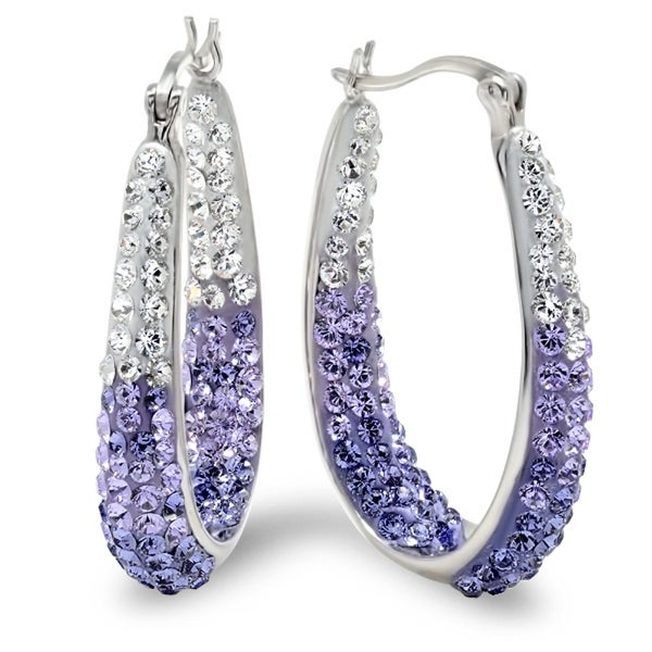 Amanda Rose Sterling Silver Purple and White Hoop Earrings made with Swarovski Crystals