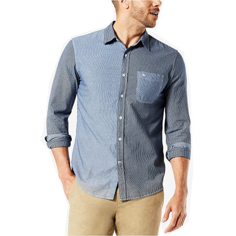 Dockers Mens Shirt Blue Size XL Button Down Chest-Pocket Colorblock