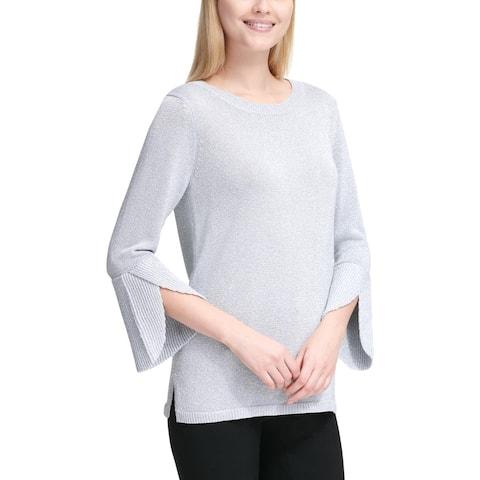 Calvin Klein Women's Metallic Knit Bell Sleeve Pullover Sweater