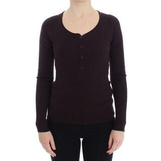 Dolce & Gabbana Dolce & Gabbana Purple Cashmere Henley Sweater Pullover