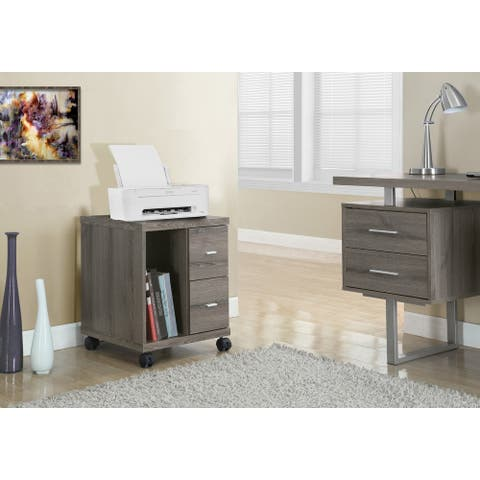 Monarch 7056 Dark Taupe Office Cabinet With Two Drawers On Castors