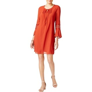 NY Collection Womens Petites Casual Dress Embroidered Peasant - ps