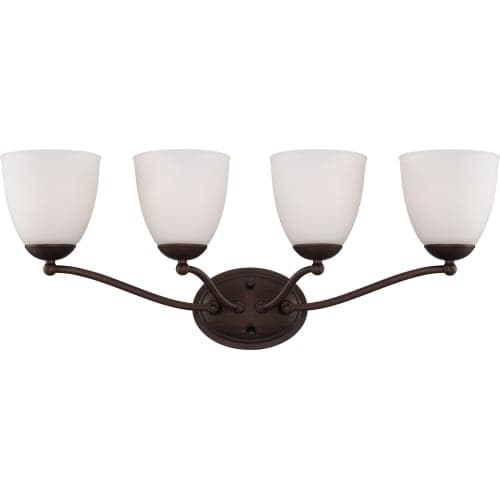 Nuvo Lighting 60/5154 Patton ES Four-Light Bathroom Fixture with Frosted Glass Shades