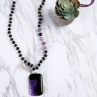 Mad Style Purple Gleaming Beaded Chain Necklace