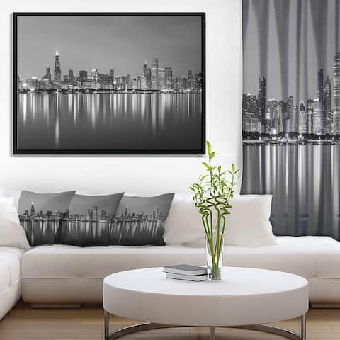 Designart 'Chicago Skyline at Night Black and White' Cityscape Framed Canvas Print
