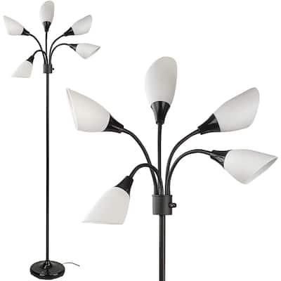 "Medusa Floor Lamp with White Acrylic Shades Model 16197-98 - 16""W x 69""H"