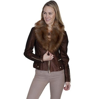 Scully Western Jacket Womens Faux Fur Notched Lapels Zip Front