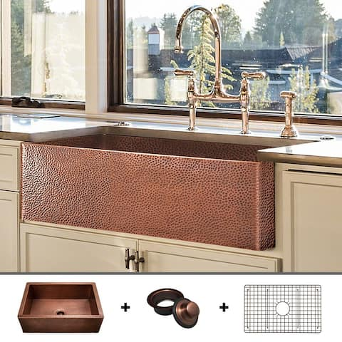 Heavy 12-GAUGE Luxury 33-Inch Copper Farmhouse Sink (48 LBS of Pure Copper), Includes Grid and Flange, by Fossil Blu - 33 x 20
