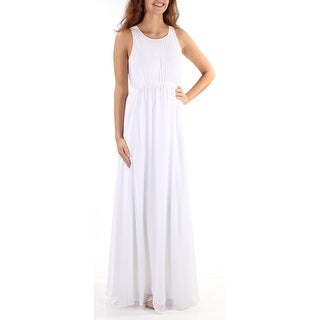CALVIN KLEIN $179 Womens New 1360 White Sleeveless Jewel Neck Dress 2 B+B