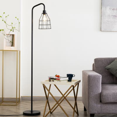 """CO-Z 68"""" Retro Industrial Arched Black Floor Lamp Metal Wire Shade"""