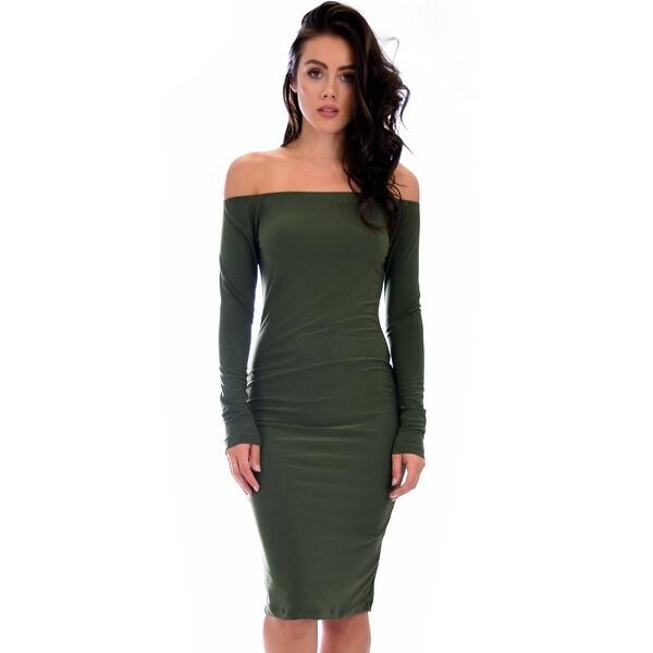 c09ecdafbc551 Bold Move Off The Shoulder Bodycon Olive Midi Dress-Olive-Large