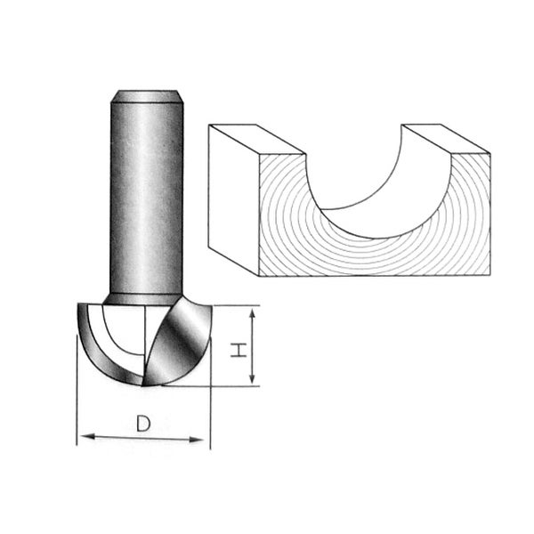 "1//2/"" Shank Dia 1//4/"" Cutting Dia 2-Flute End Bearing Drawing Line Router Bit"