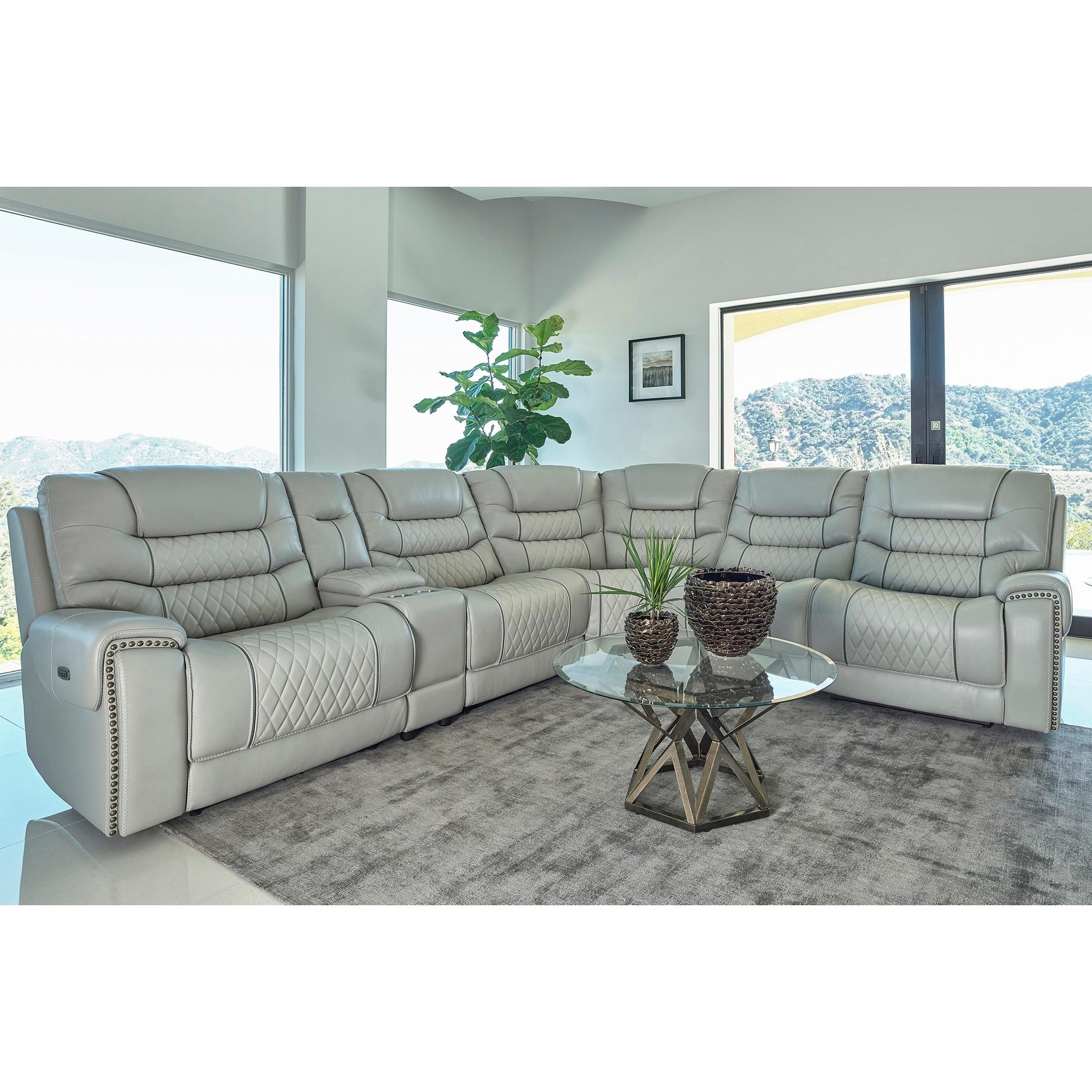 Shop Garnet Light Grey 6 Piece Upholstered Power Reclining Seats With Power Headrests Sectional Overstock 31724999