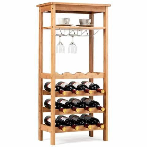 Gymax Bamboo Wine Rack Countertop Bottle Storage Free Standing w/