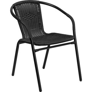 Skovde Black Rattan Stack Chair for Patio/Bar/Restaurant