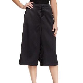 Valette NEW Black Womens 0 Front Tab Satin Four Pocket Gaucho Pant