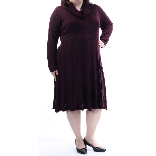 09c2077501eee Shop CALVIN KLEIN Womens Burgundy Textured Long Sleeve Cowl Neck Knee  Length Fit + Flare Dress Plus Size: 1X - Free Shipping On Orders Over $45 -  Overstock ...