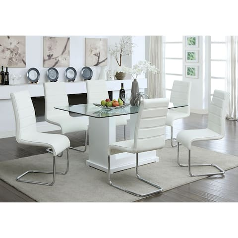 Furniture of America Benton 7-piece White Dining Table Set