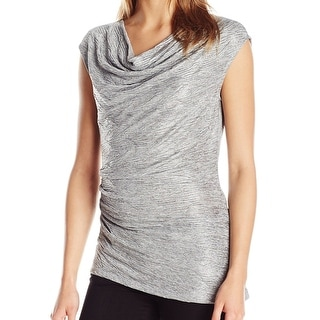 Calvin Klein NEW Silver Ruched Cowl-Neck Women's Size XL Top Blouse