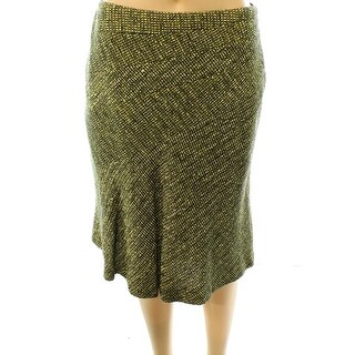 Anne Klein NEW Yellow Women's Size 8P Petite Tweed A-Line Skirt