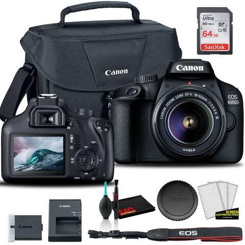 Canon 4000D DSLR Camera W/ 18-55mm Lens + Canon Bag + Sandisk 64GB