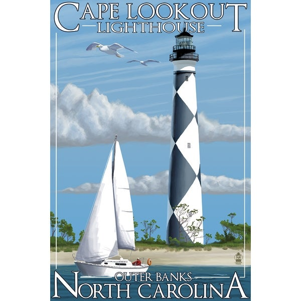 Outer Banks, NC Cape Lookout Lighthouse LP Artwork (100% Cotton Towel Absorbent)