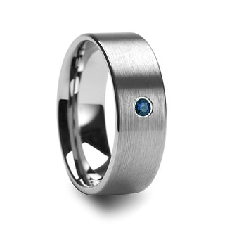 THORSTEN - MAVI Men's Brushed Finish Flat Tungsten Wedding Band with Blue Diamond