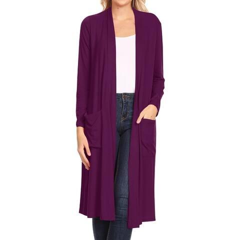 Women's Solid Long Body Cardigan Jacket Outerwear