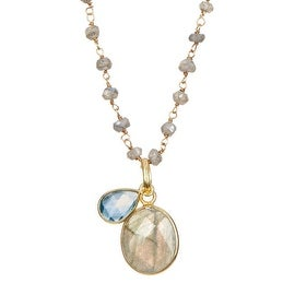 Gold Vermeil Labradorite & Blue Topaz Pendant Necklace