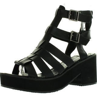 Nature Breeze Vienna-01 Women Leatherette Open Toe Strappy Foam Platform Heel Sandal - Black