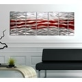 Statements2000 Red / Silver Modern Abstract Metal Wall Art Painting by Jon Allen - Caliente - Thumbnail 1