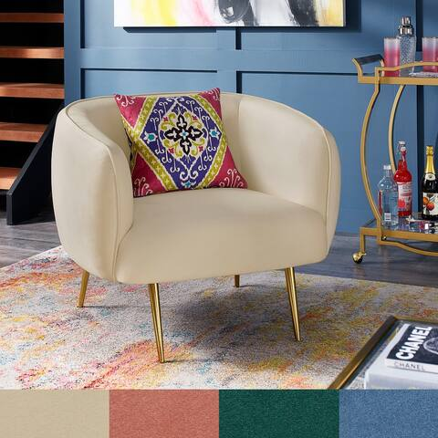 Roman Brass Finish Velvet Upholstered Accent Chair by iNSPIRE Q Bold - Accent Chair