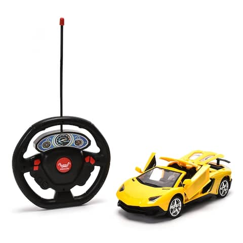 WonderPlay 27MHZ 1:18 Remote Control Car with Headlight & Openable Doors 6 Years + - Yellow