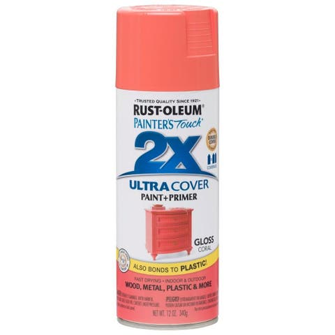 Rust-Oleum 283189 Painter's Touch Ultra Cover 2X Gloss Spray, Coral, 12 Oz